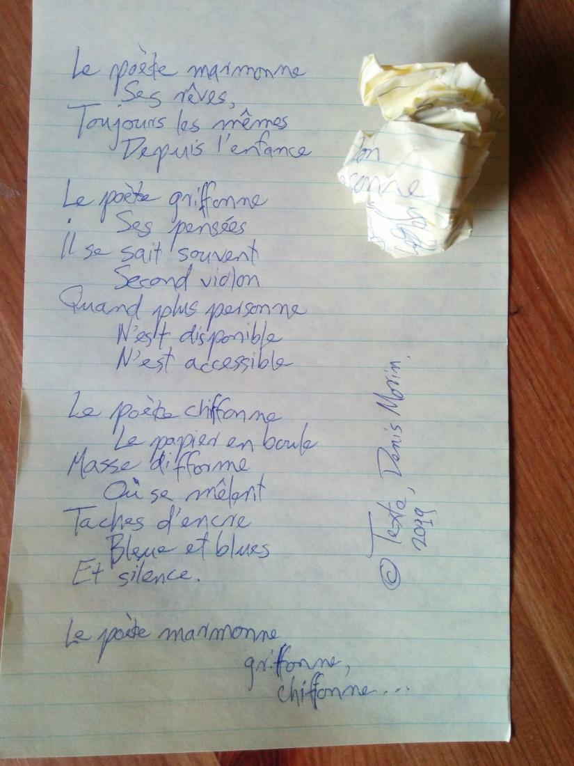 Le poète griffonne...